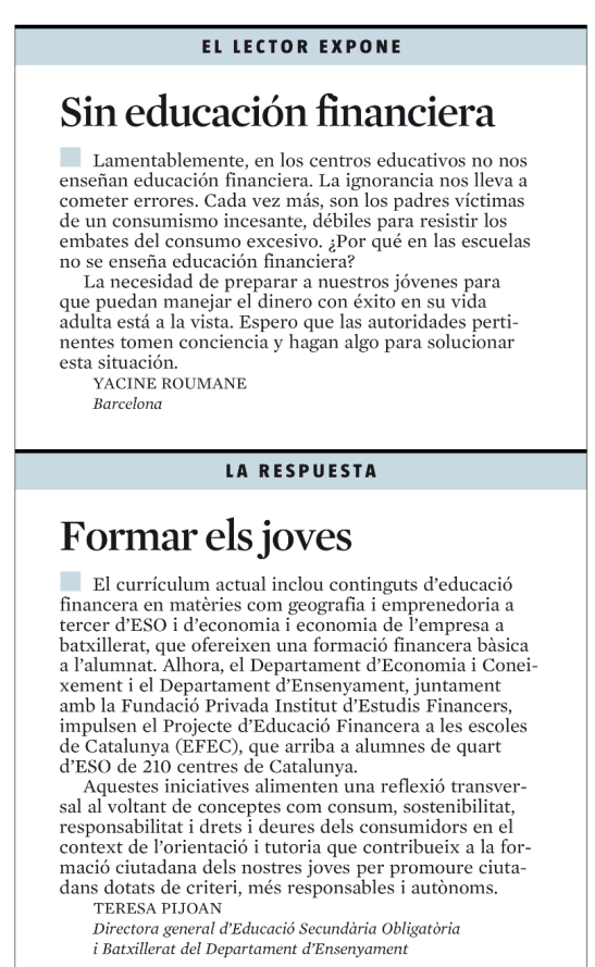 Carta a La Vanguardia